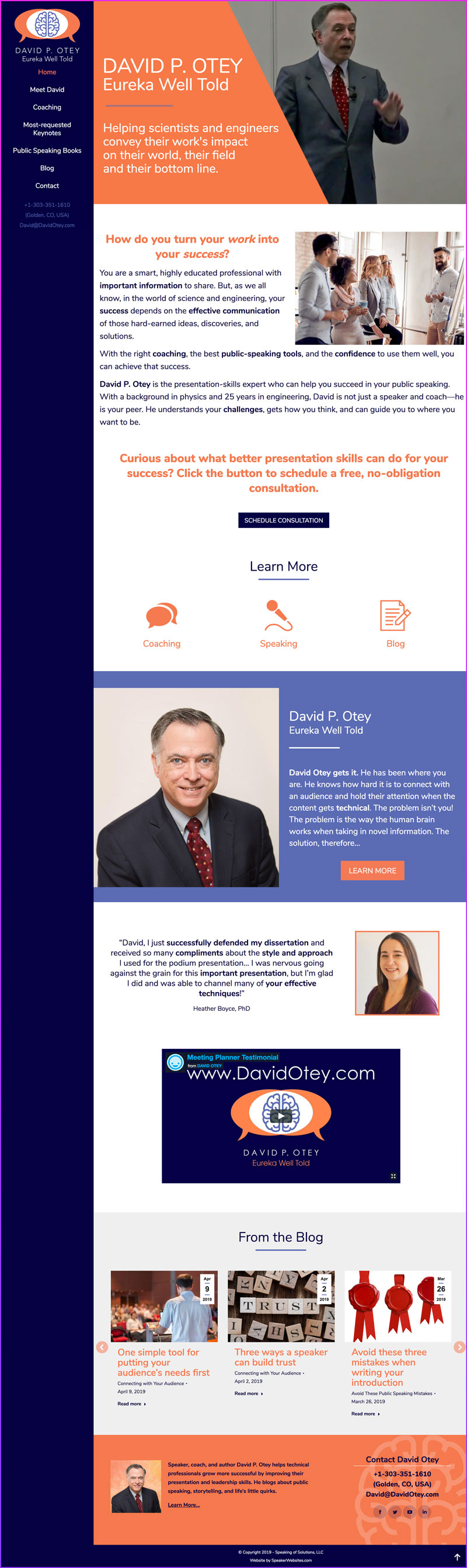 Technical Speaker & Speaking Coach, David P. Otey